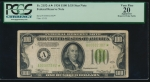 Fr. 2152-A 1934 $100 Federal Reserve Note Boston LGS star PCGS 20 apparent A00002382*