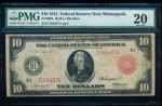 Fr. 900a 1914 $10 Federal Reserve Note Minneapolis red seal PMG 20 I164487A