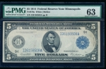 Fr. 879a 1914 $5 Federal Reserve Note Minneapolis PMG 63 comment I26156508A