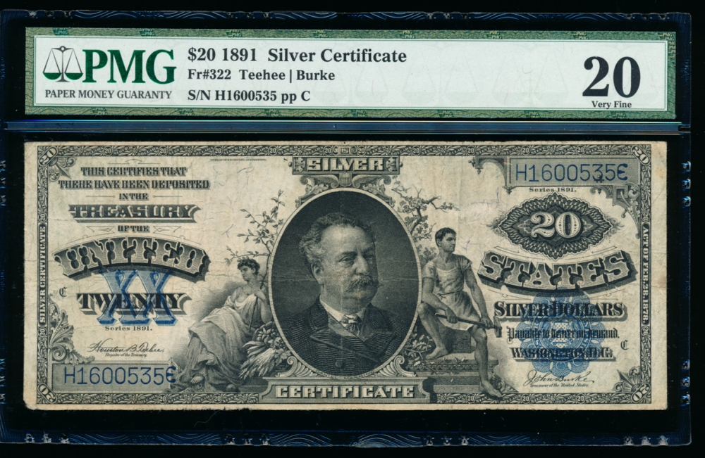 Fr. 322 1891 $20 Silver Certificate  PMG 20 comment H1600535