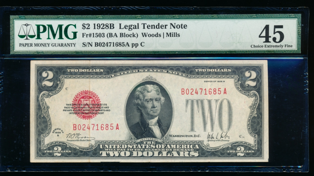 Fr. 1503 1928B $2 Legal Tender BA block PMG 45 B02471685A