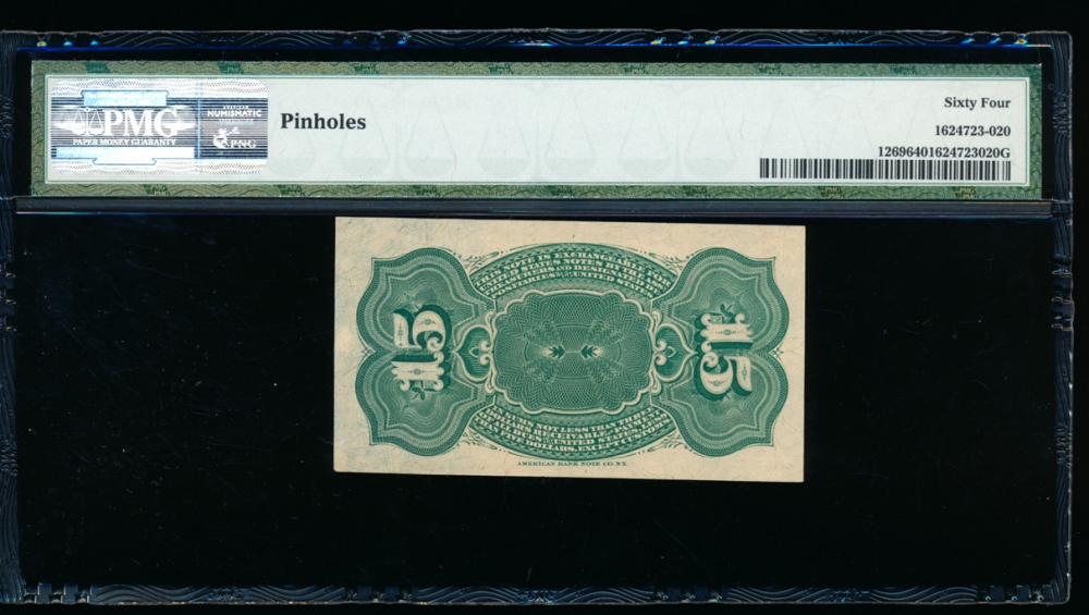 Fr. 1269  $0.15 Fractional Fourth Issue; Blue Right End, 40mm seal PMG 64 comment no serial number reverse