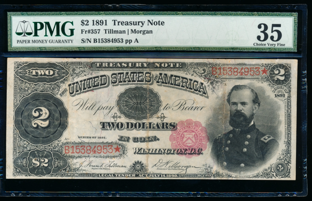 Fr. 357 1891 $2 Treasury Note  PMG 35 B15384953