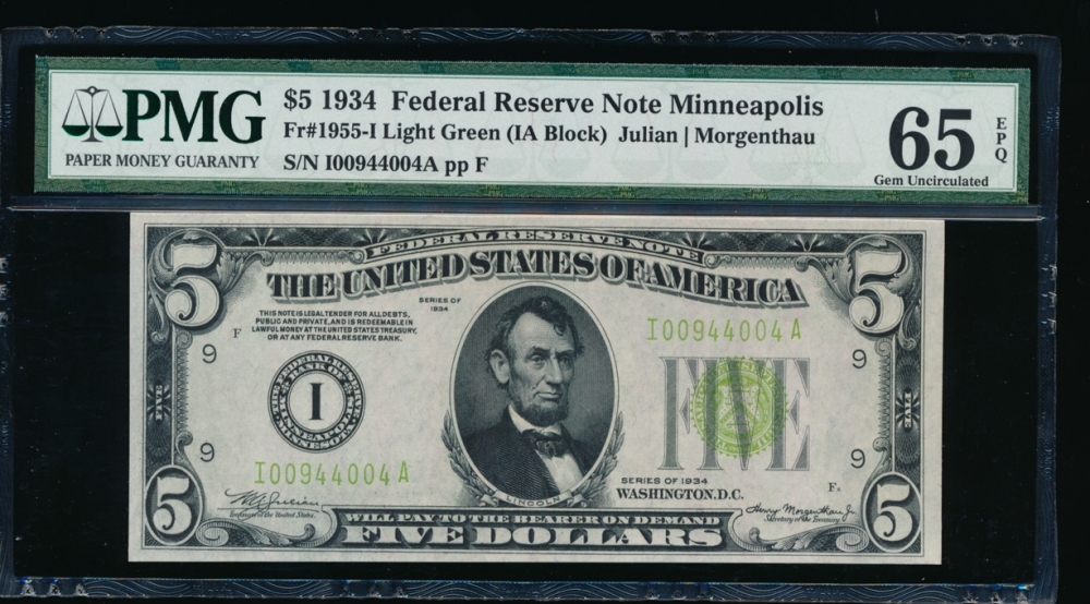 Fr. 1955-I 1934 $5 Federal Reserve Note Minneapolis LGS PMG 65EPQ I00944004A