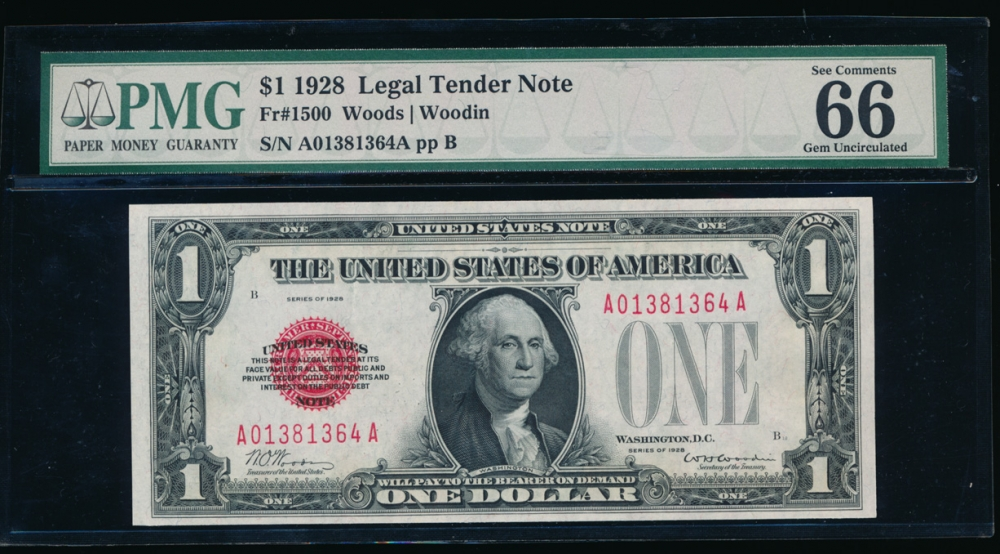 Fr. 1500 1928 $1 Legal Tender  PMG 66EPQ A01381364A