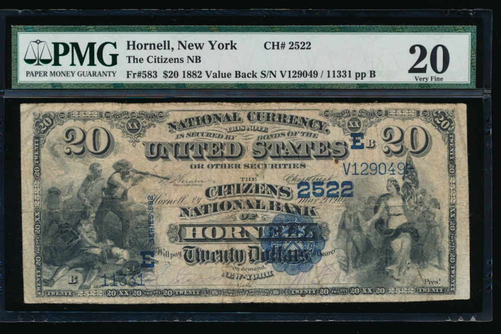 Fr. 583 1882 $20 National: Value Back Ch# 2522 The Citizens National Bank of Hornell, New York PMG 20 11331 obverse