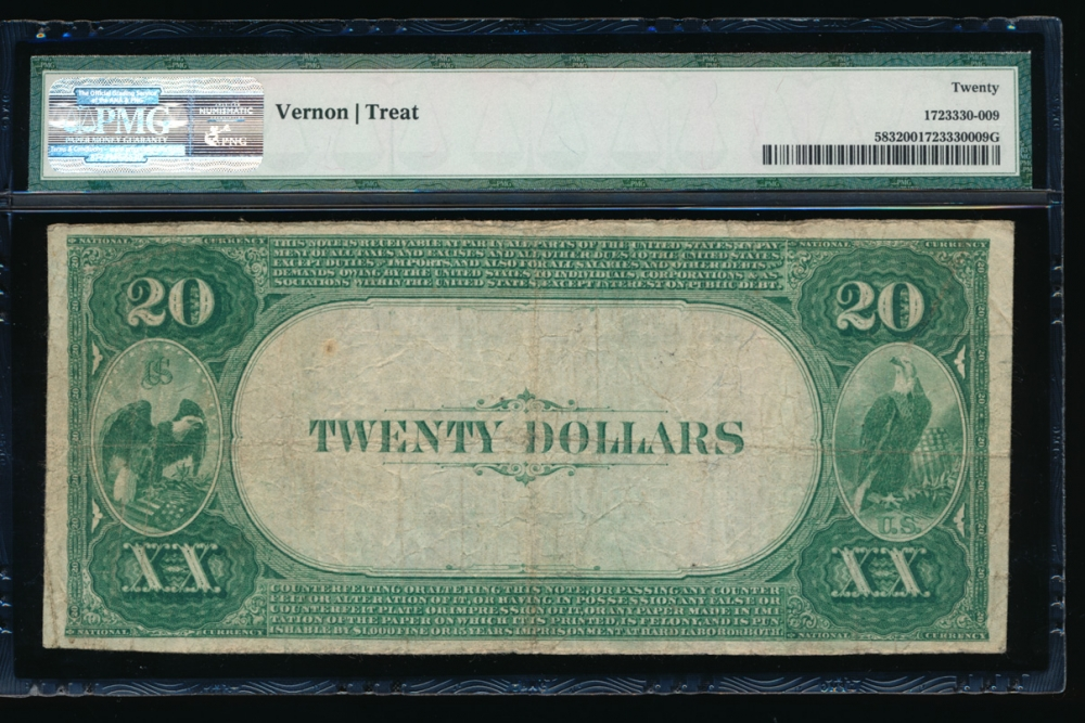 Fr. 583 1882 $20 National: Value Back Ch# 2522 The Citizens National Bank of Hornell, New York PMG 20 11331 reverse