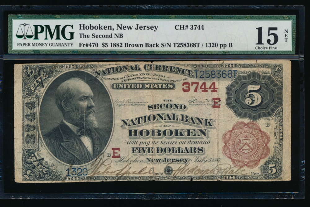 Fr. 470 1882 $5 National: Brown Back Ch# 3744 The Second National Bank of Hoboken, New Jersey PMG 15NET 1320 obverse