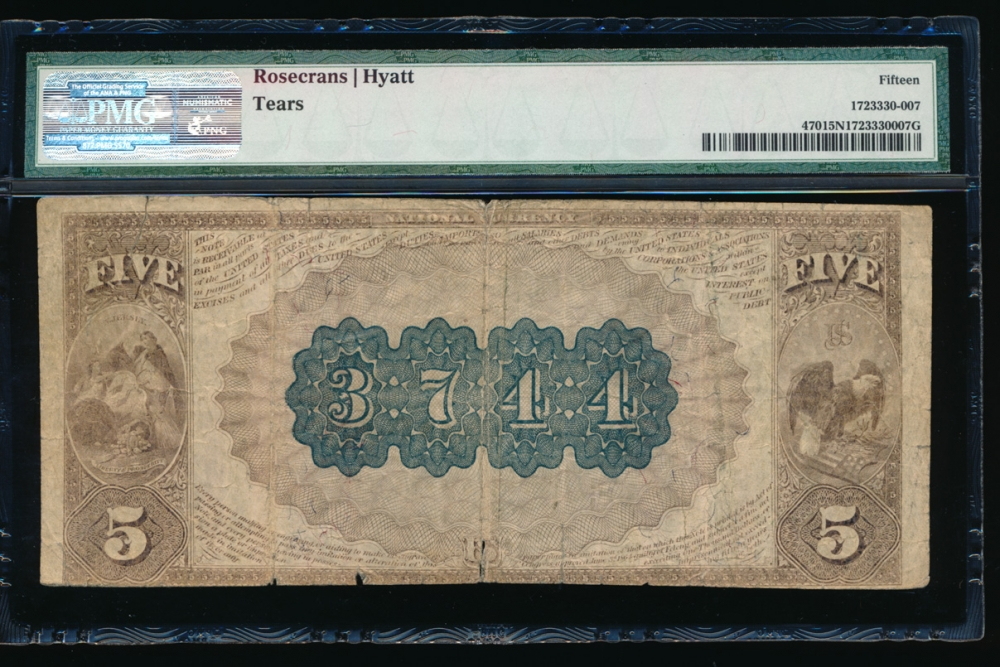 Fr. 470 1882 $5 National: Brown Back Ch# 3744 The Second National Bank of Hoboken, New Jersey PMG 15NET 1320 reverse