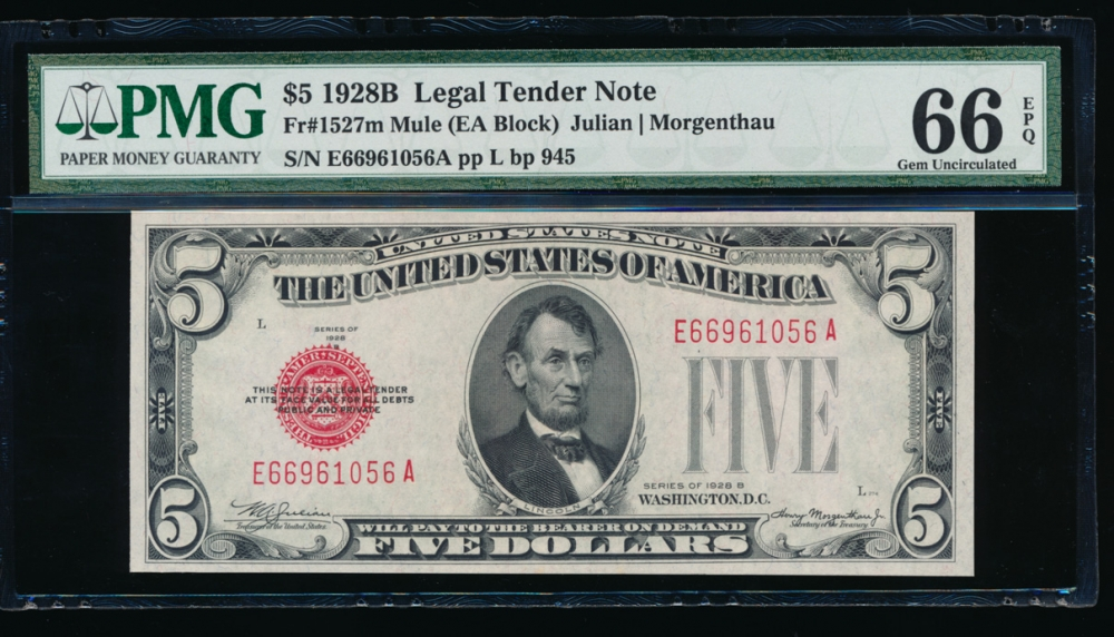 Fr. 1527 1928B $5 Legal Tender mule, EA block PMG 66EPQ E66961056A