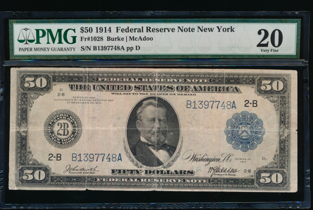 Fr. 1028 1914 $50 Federal Reserve Note New York PMG 20 B1397748A