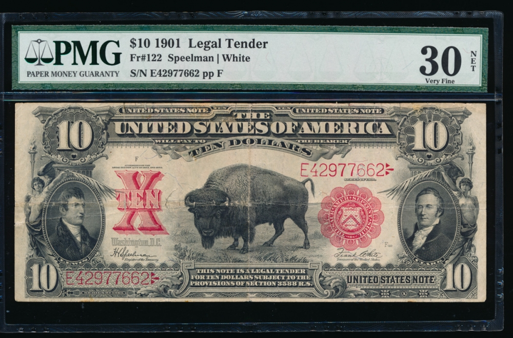 Fr. 122 1901 $10 Legal Tender  PMG 30NET E42977662