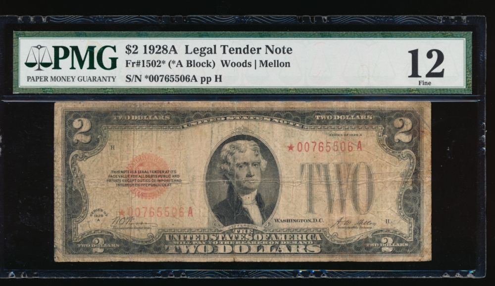 Fr. 1502 1928A $2 Legal Tender *A block PMG 12 *00765506A obverse