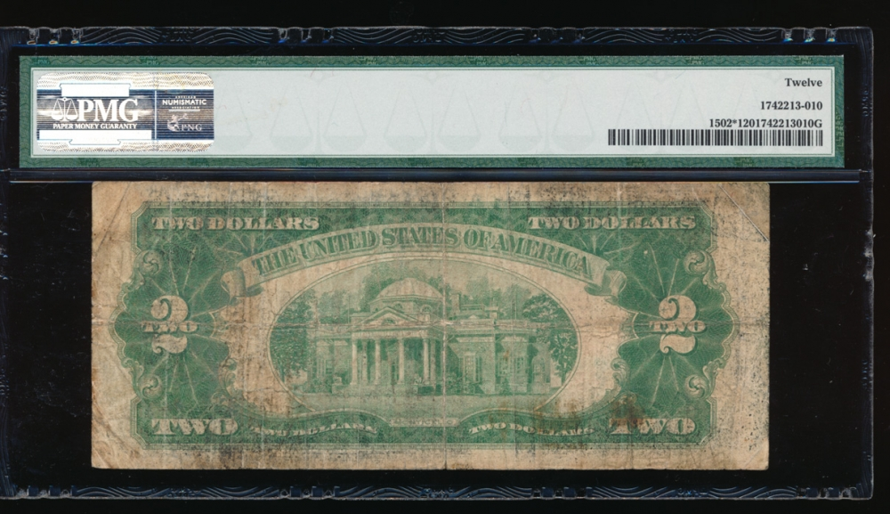 Fr. 1502 1928A $2 Legal Tender *A block PMG 12 *00765506A reverse