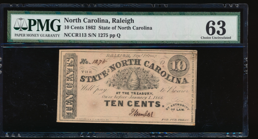 Fr. Cr NC-113 1862 $0.10 Obsolete State of North Carolina, Raleigh PMG 63 1275