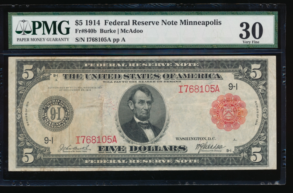Fr. 840b 1914 $5 Federal Reserve Note red seal Minneapolis PMG 30 I768105A