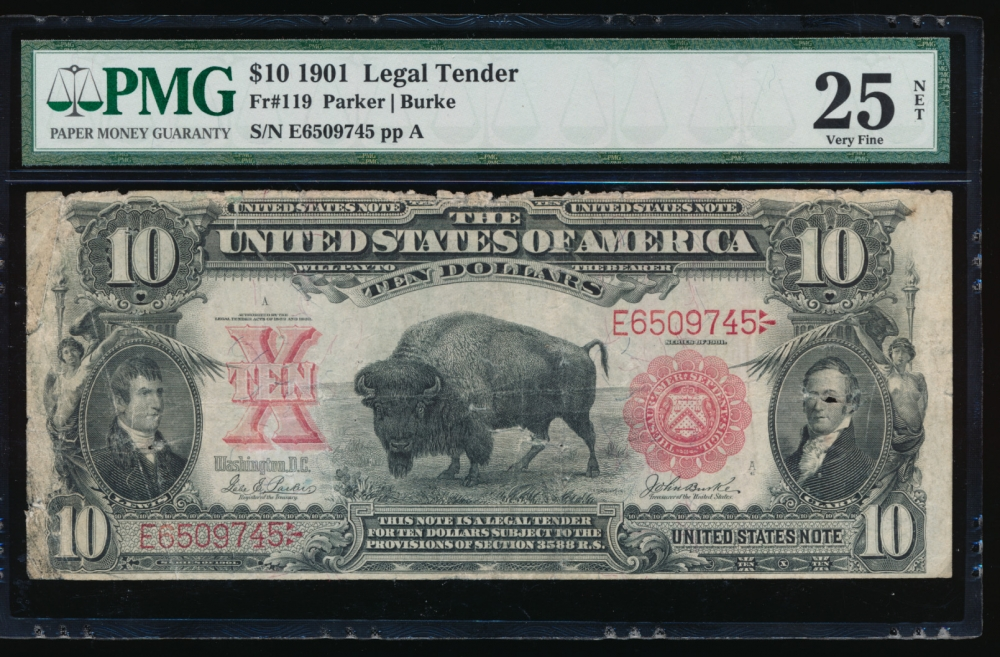 Fr. 119 1901 $10 Legal Tender  PMG 25NET E6509745