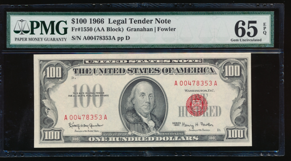 Fr. 1550 1966 $100 Legal Tender AA block PMG 65EPQ A00478353A