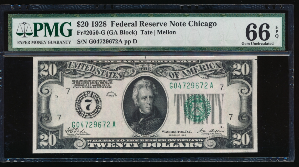 Fr. 2050-G 1928 $20 Federal Reserve Note Chicago PMG 66EPQ G04729672A