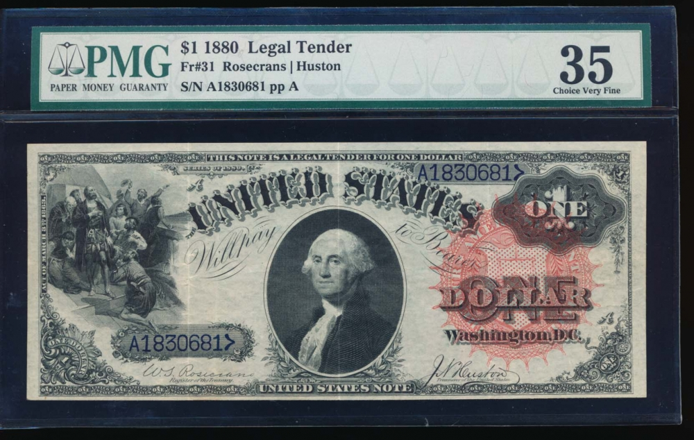 Fr. 31 1880 $1  Legal Tender  PMG 35 A1830681 obverse