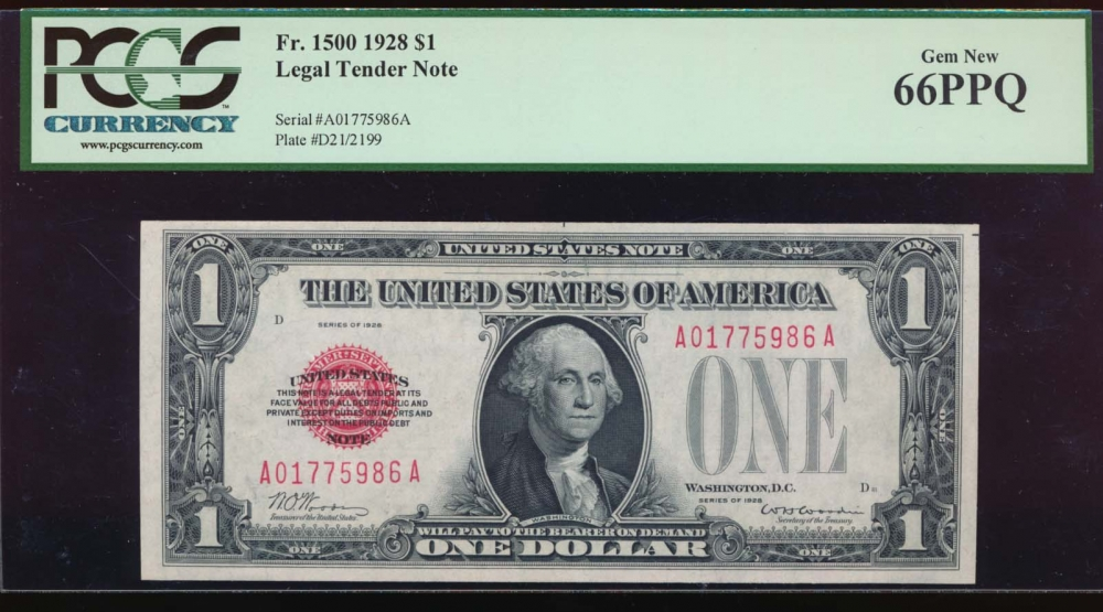 Fr. 1500 1928 $1  Legal Tender  PCGS 66PPQ A01775986A