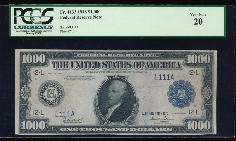 Fr. 1133 1918 $1,000  Federal Reserve Note  PCGS 20 L111A obverse