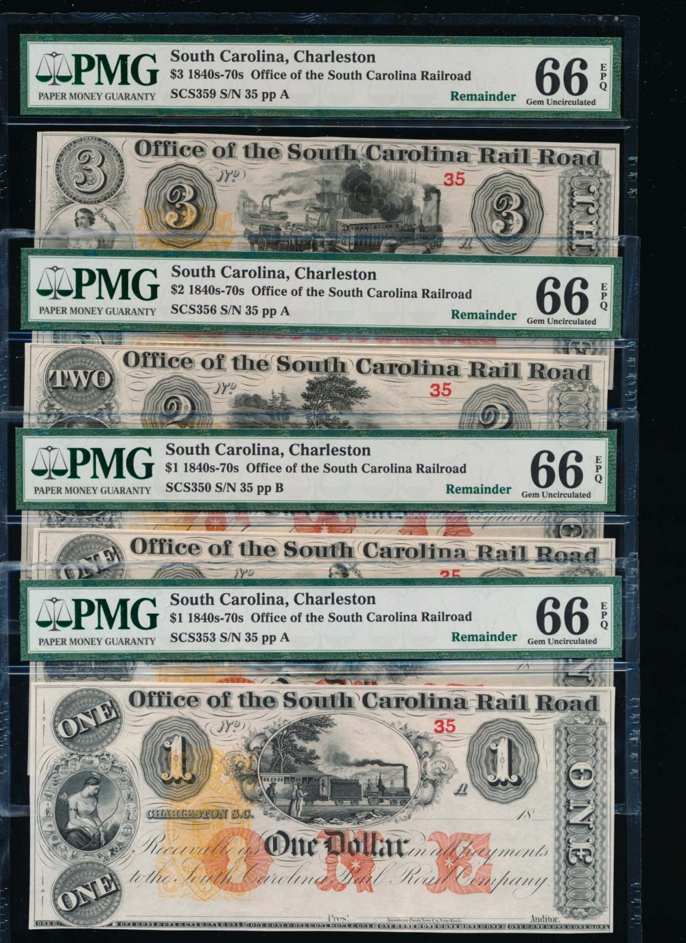 Fr. SCS353 1800s $1,1,2,3 Obsolete Office of the South Carolina Rail Road, Charleston, SC PMG 66EPQ 35A