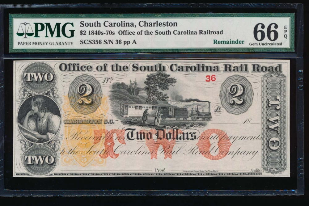 Fr. SCS356 1800s $2  Obsolete Office of the South Carolina Rail Road, Charleston, SC PMG 66EPQ 36A