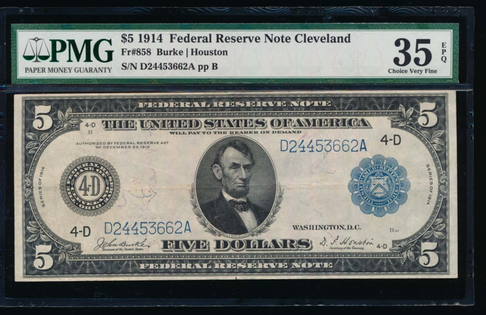 Fr. 858 1914 $5  Federal Reserve Note Cleveland PMG 35EPQ D24453662A