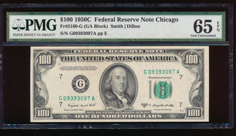 Fr. 2160-G 1950C $100  Federal Reserve Note Chicago PMG 65EPQ G09393097A