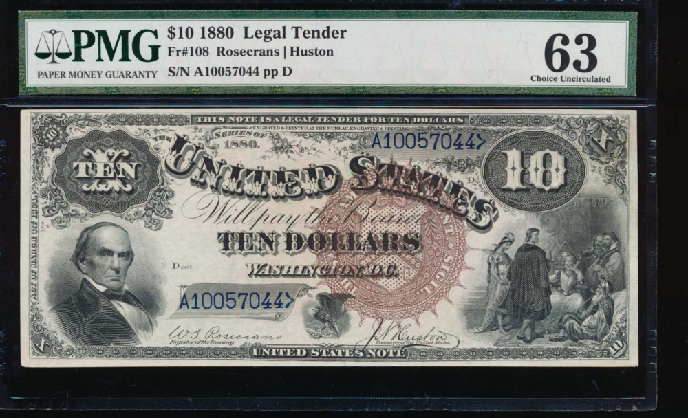 Fr. 108 1880 $10  Legal Tender  PMG 63 comment A10057044