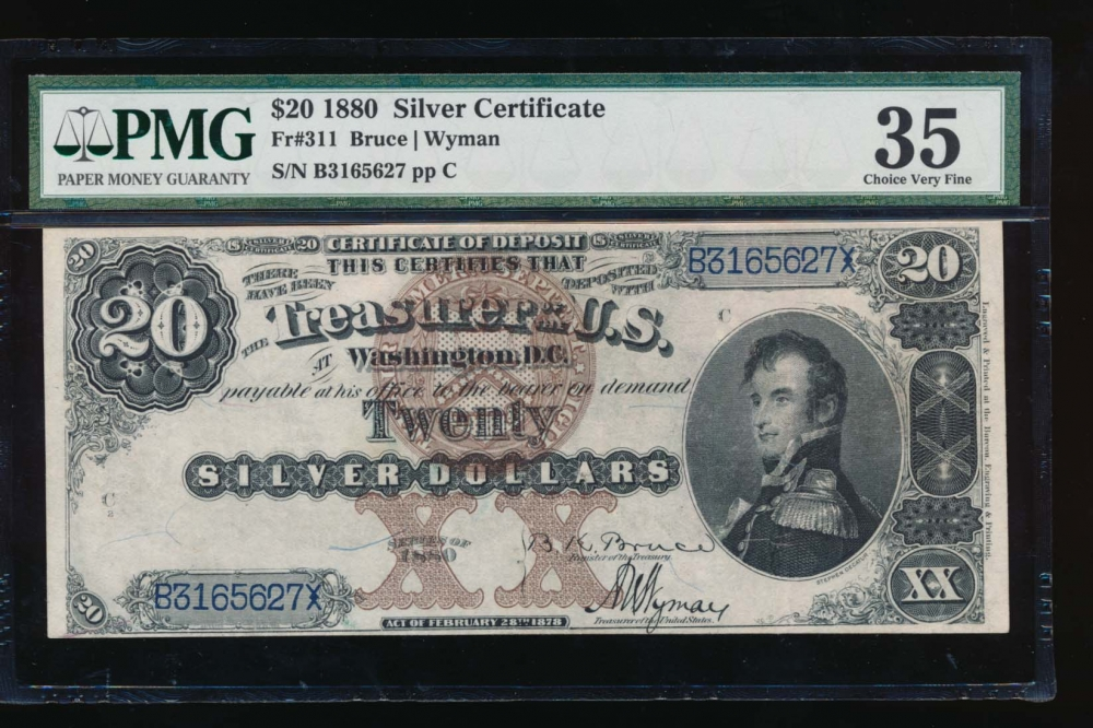 Fr. 311 1880 $20  Silver Certificate  PMG 35 comment B3165627