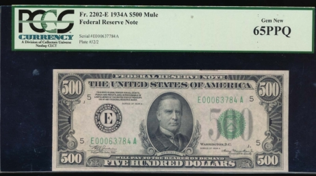 Fr. 2202-E 1034A $500  Federal Reserve Note Richmond PCGS 65PPQ E00063784A