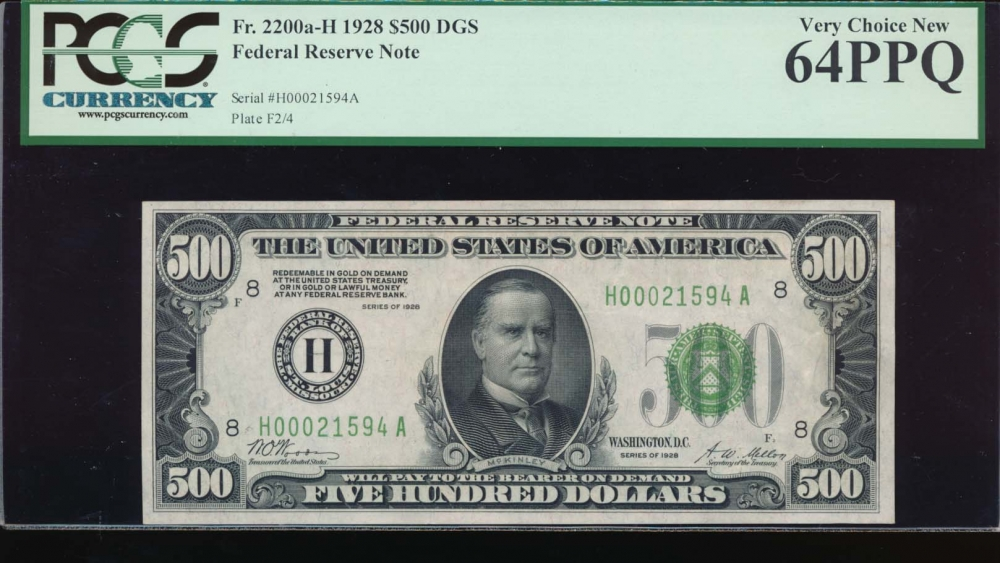 Fr. 2200-H 1928 $500  Federal Reserve Note Saint Louis PCGS 64PPQ H00021594A