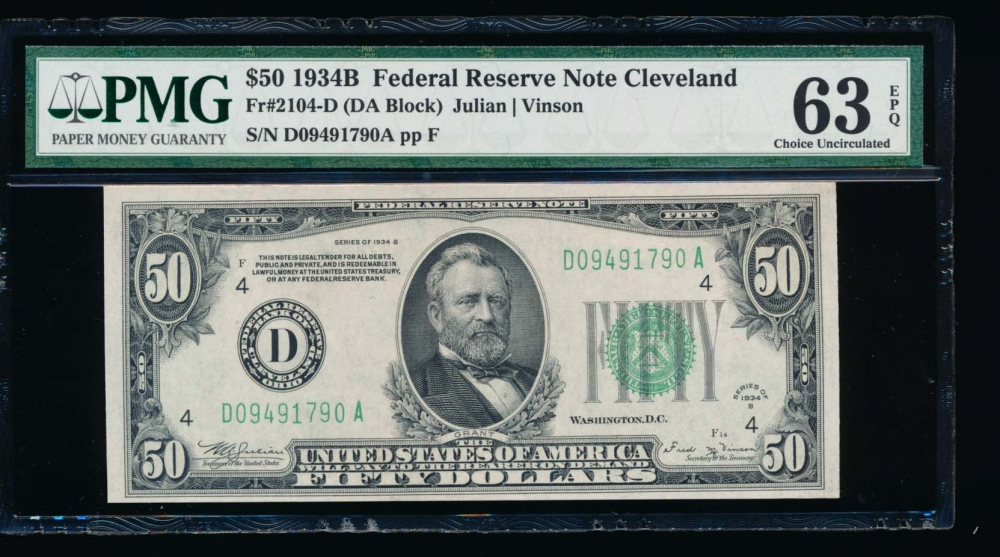 Fr. 2104-D 1934B $50  Federal Reserve Note cleveland PMG 63EPQ D09491790A