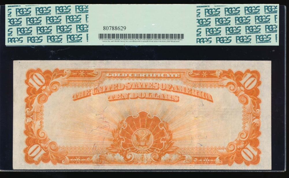 Fr. 1173 1922 $10  Gold Certificate  PCGS 45 H56865466 reverse