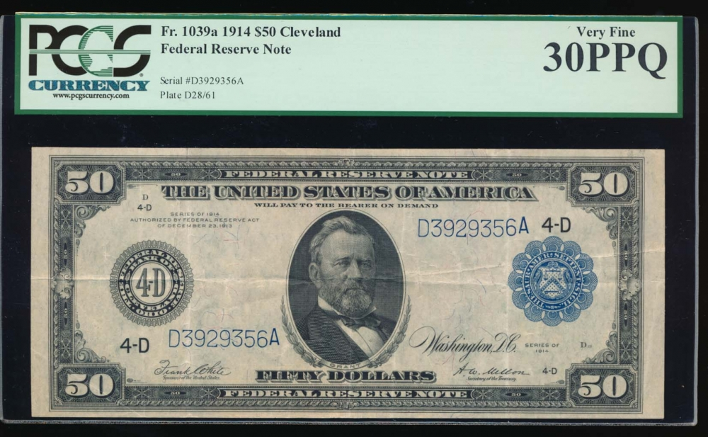 Fr. 1039a 1914 $50  Federal Reserve Note Cleveland PCGS 30PPQ D3929356A