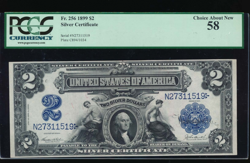 Fr. 256 1899 $2  Silver Certificate  PCGS 58 N27311519 obverse
