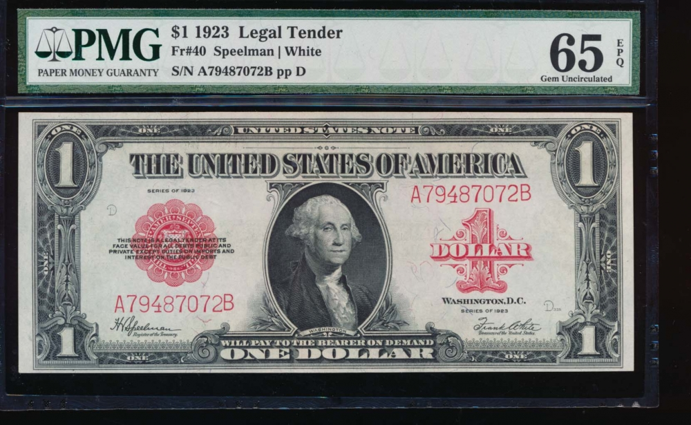 Fr. 40 1923 $1  Legal Tender  PMG 65EPQ A79487072B