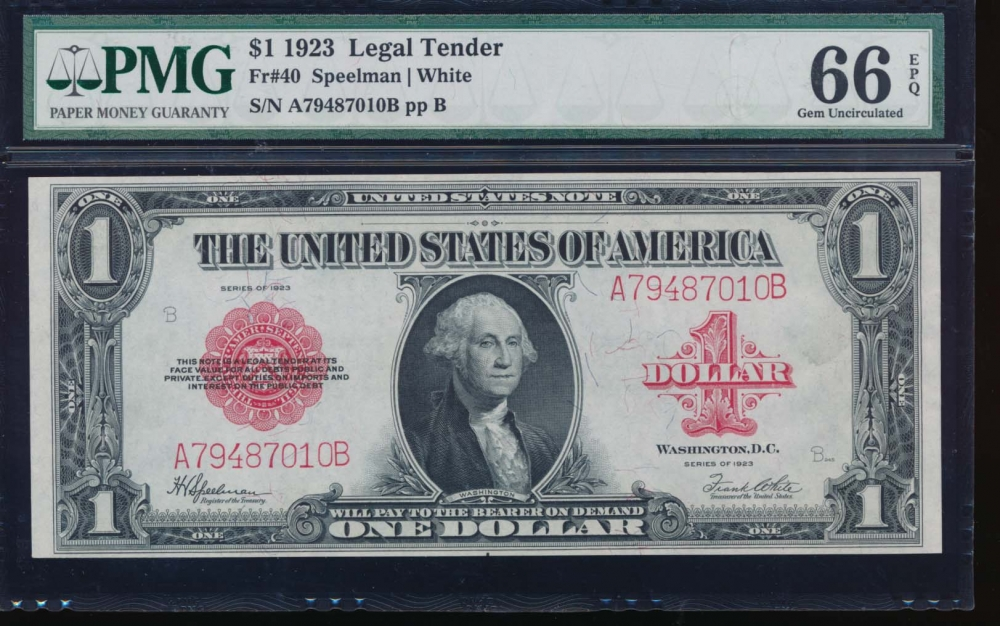 Fr. 40 1923 $1  Legal Tender  PMG 66EPQ A79487010B