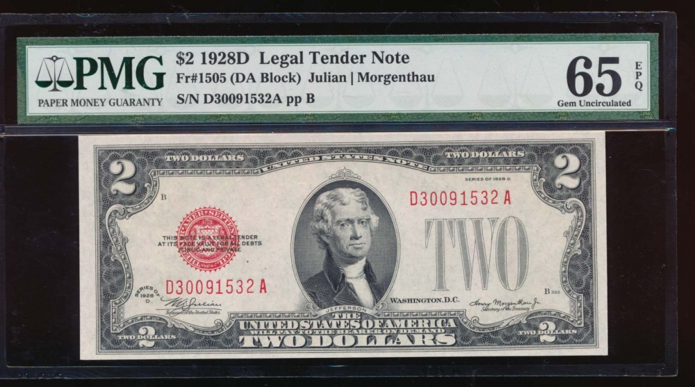Fr. 1505 1928D $2  Legal Tender DA block PMG 65EPQ D30091532A