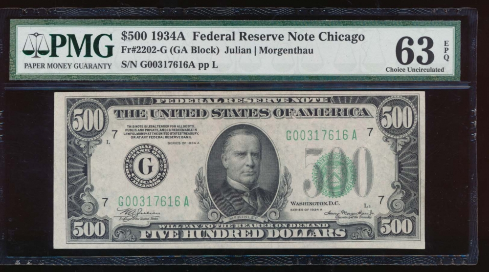 Fr. 2202-G 1934A $500  Federal Reserve Note Chicago PMG 63EPQ G00317616A
