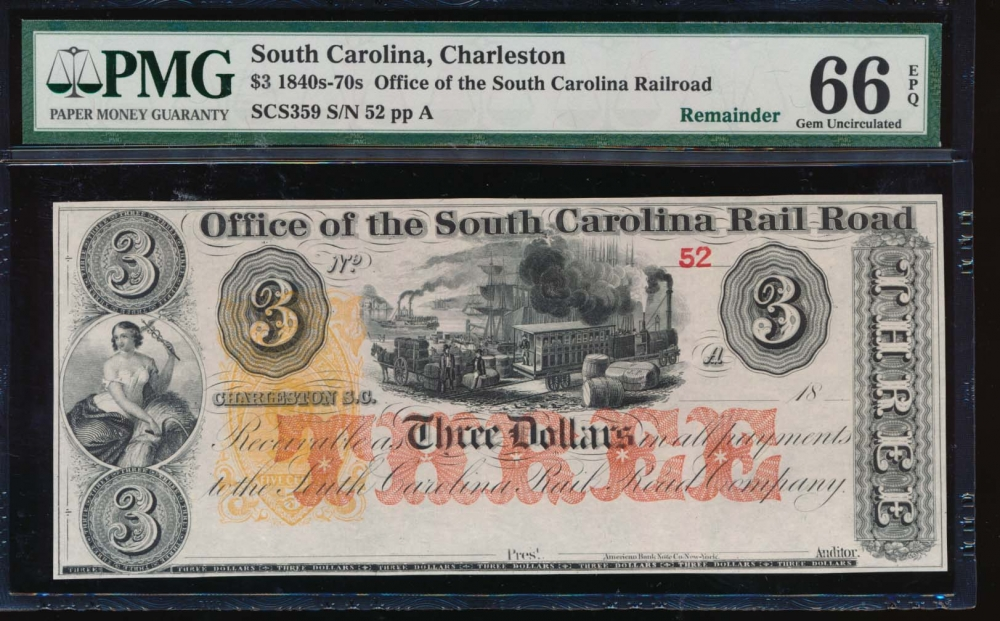 Fr. SCS359 1800s $3  Obsolete Office of the South Carolina Rail Road, Charleston, SC PMG 66EPQ 52A