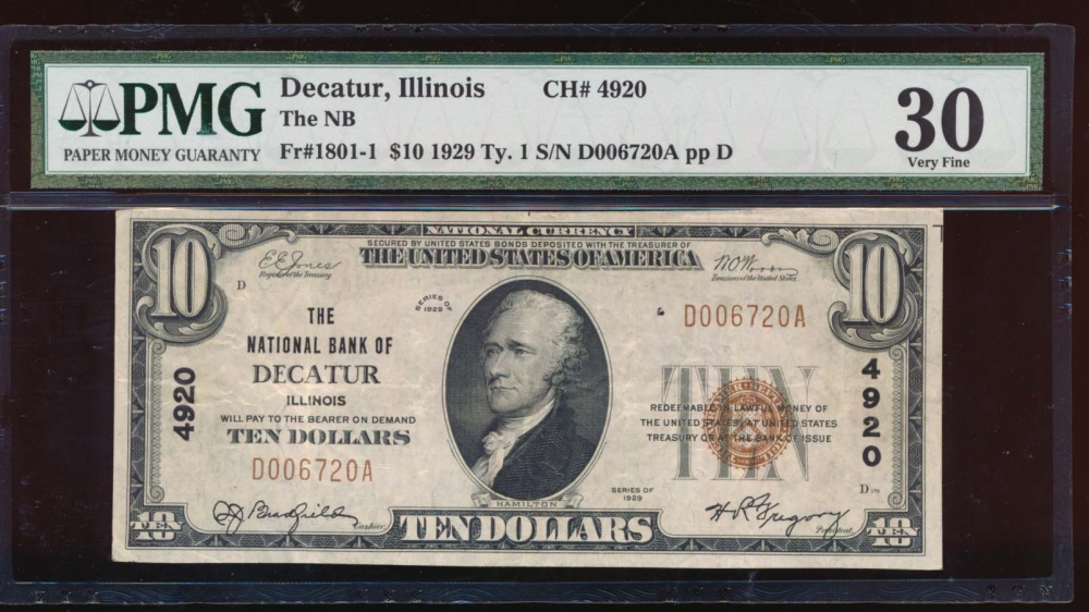 Fr. 1801-1 1929 $10  National: Type I Ch #4920 The National Bank of Decatur, Illinois PMG 30 D006720A