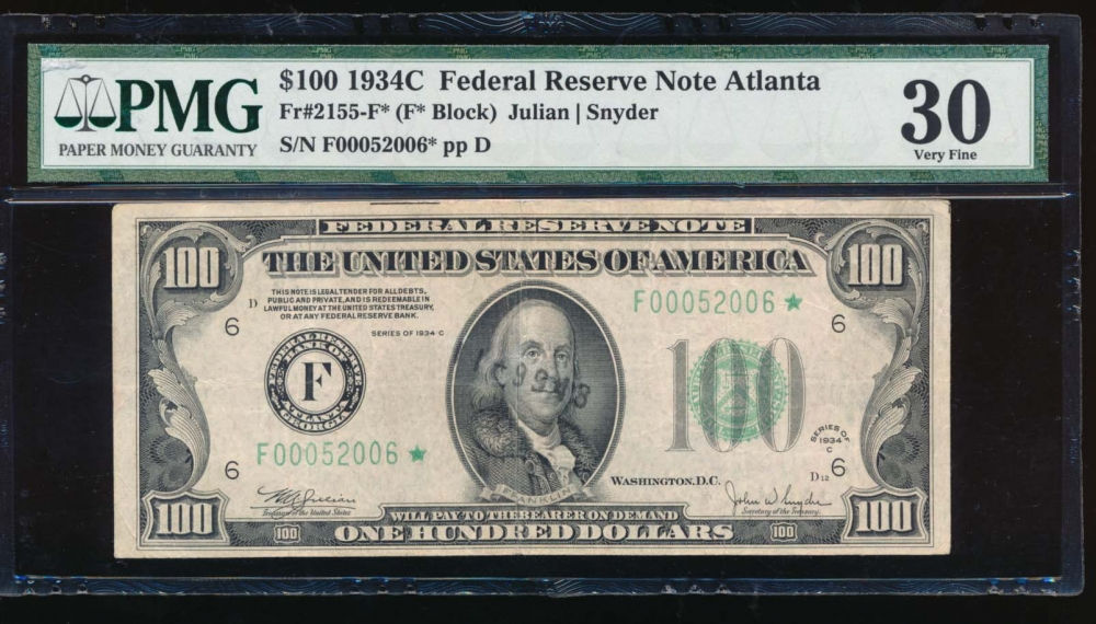 Fr. 2155-F 1934C $100  Federal Reserve Note Atlanta PMG 30 comment F00052006*