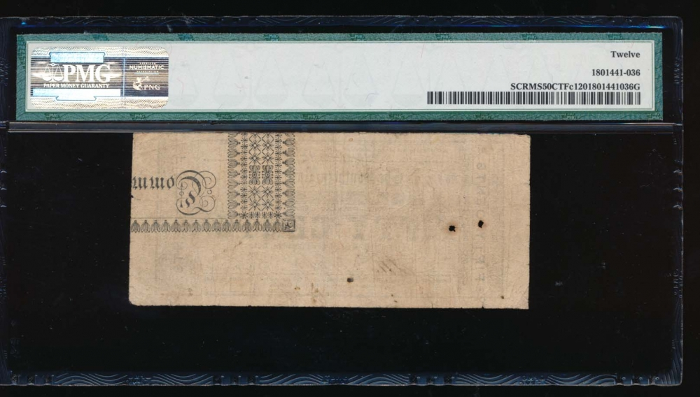 1861 $0.50  Obsolete Southern Railroad Co., Vicksburg, Mississippi PMG 12 2771 reverse