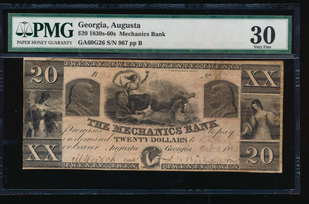 Fr. H GA-60 G2 1861 $20  Obsolete Mechanics Bank, Augusta, Georgia PMG 30 967