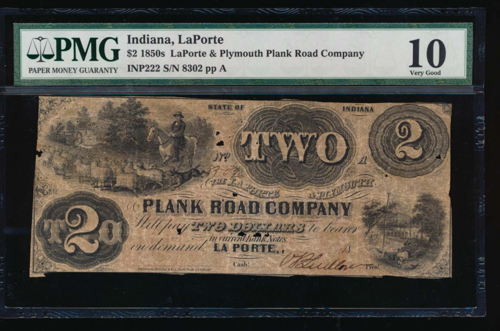 1850 $2  Obsolete LaPorte & Plymouth Plank Road Company, LaPorte Indiana PMG 10 comment 8302