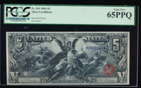 Fr. 269 1896 $5  Silver Certificate  PCGS 65PPQ 26592666