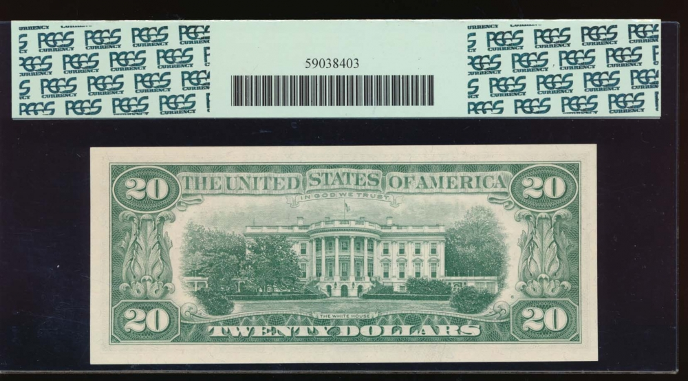 Fr. 2065-B 1963 $20  Federal Reserve Note New York star PCGS 65PPQ B00366471* reverse